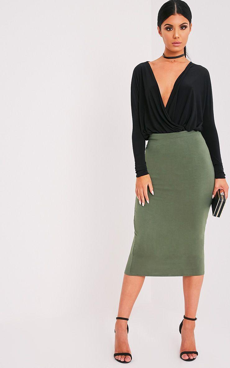 Basic Khaki Longline Midi Skirt 1