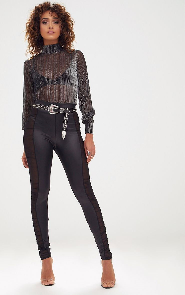 Black PU Ruche Mesh Panel Leggings 1