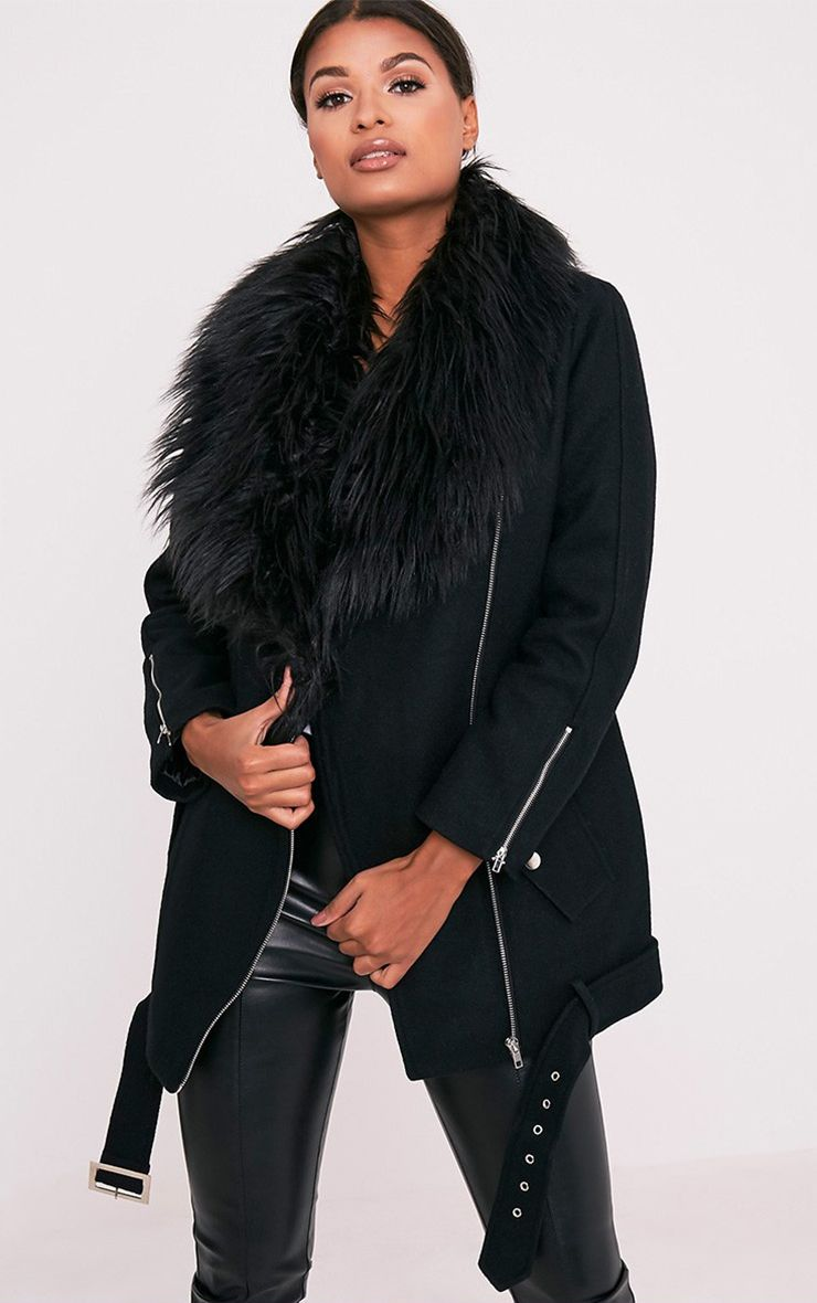 Anderson Black Oversized Faux Fur Collar Aviator