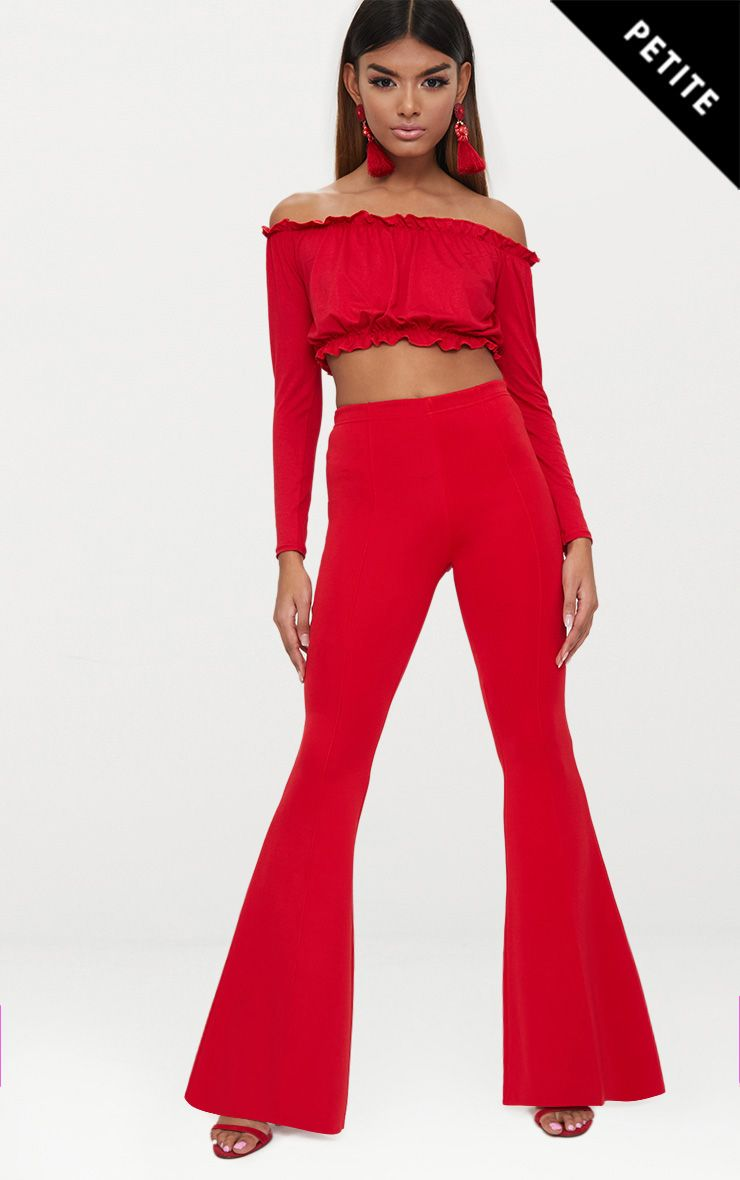 Petite Red High Waist Extreme Flare Trousers