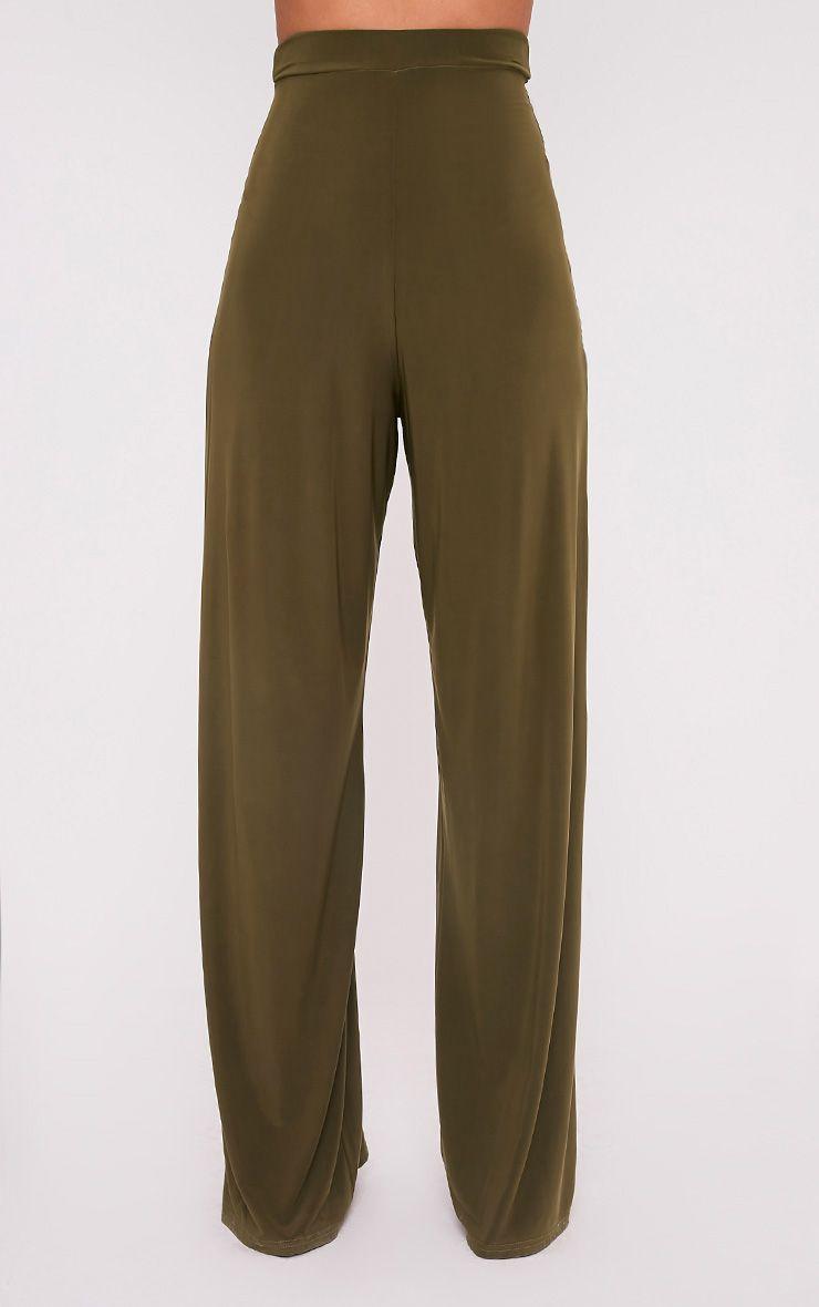 Jill Khaki Slinky Palazzo Trousers 2