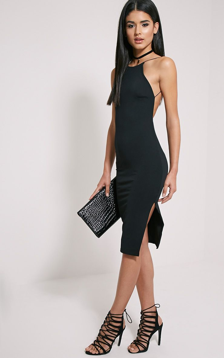 Kady Black Backless Midi Dress