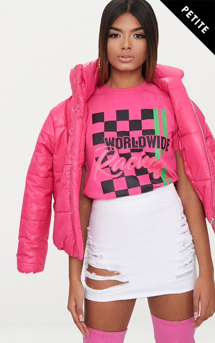 Product photo of Petite neon pink worldwide racing slogan tshirt neon pink