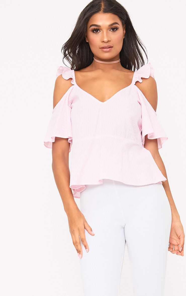Pink Stripe Cold Shoulder Ruffle Cami Top