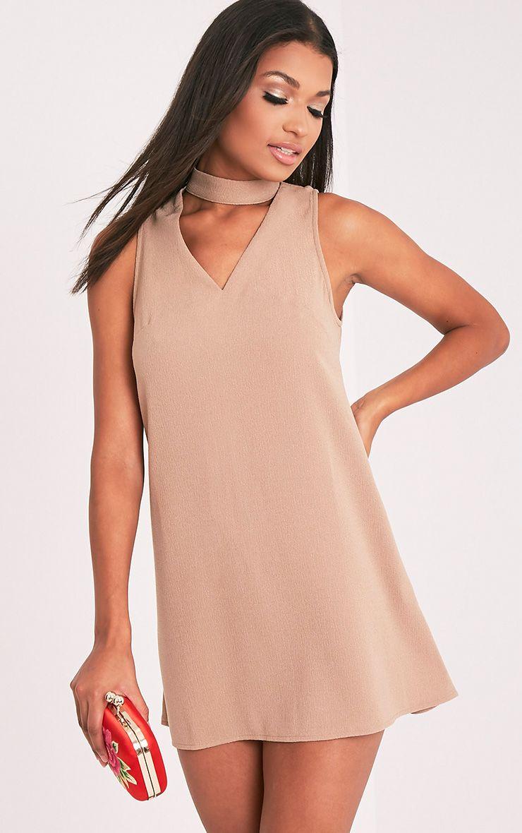 Cinder Camel Choker Detail Loose Fit Dress 1