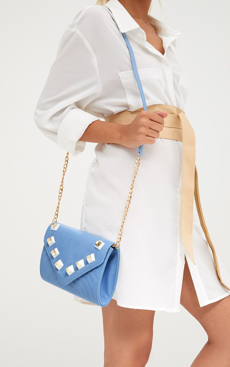 Baby Blue Chunky Studded Shoulder Bag