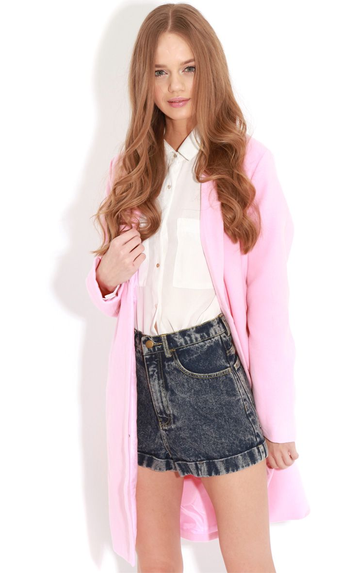Avril Pink Longline Boyfriend Coat  1