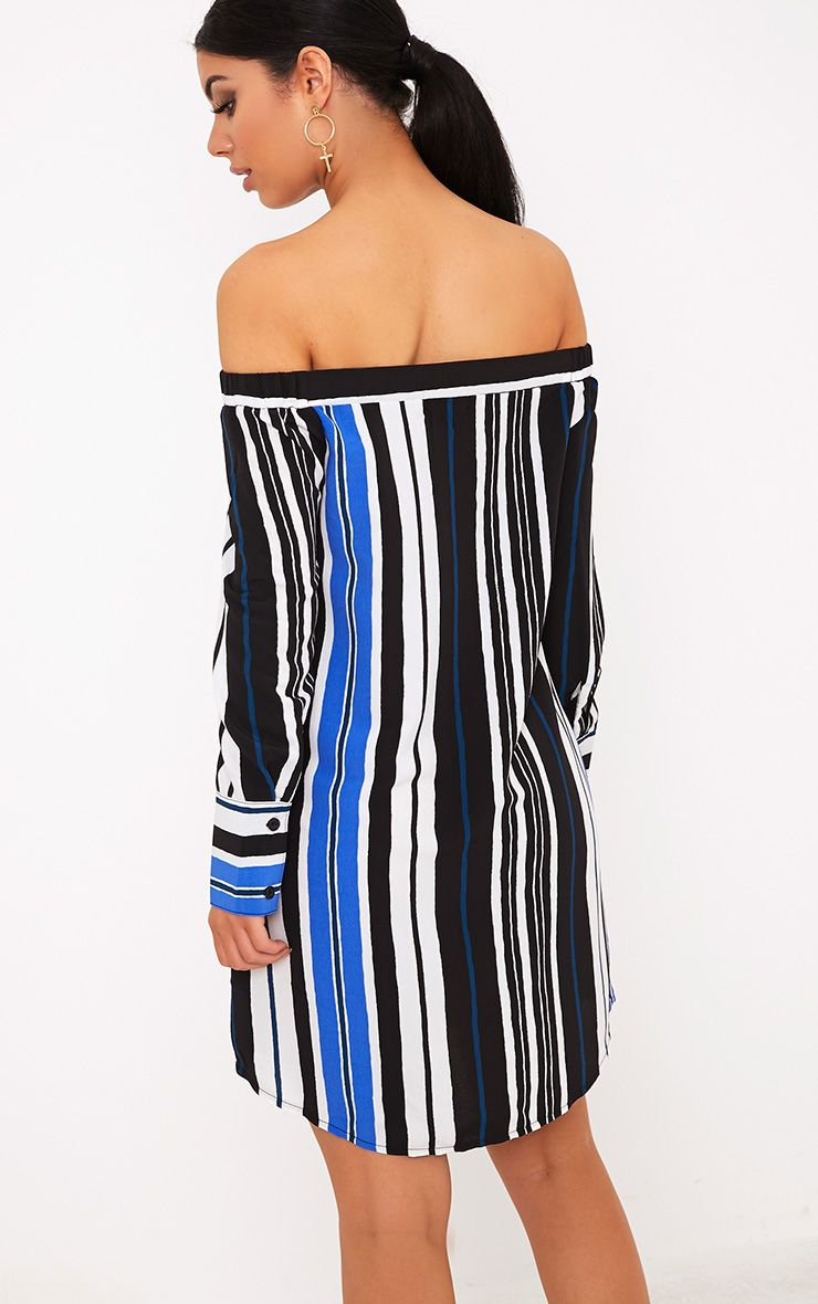 Belinda Blue Striped Long Sleeve Bardot Shift Dress