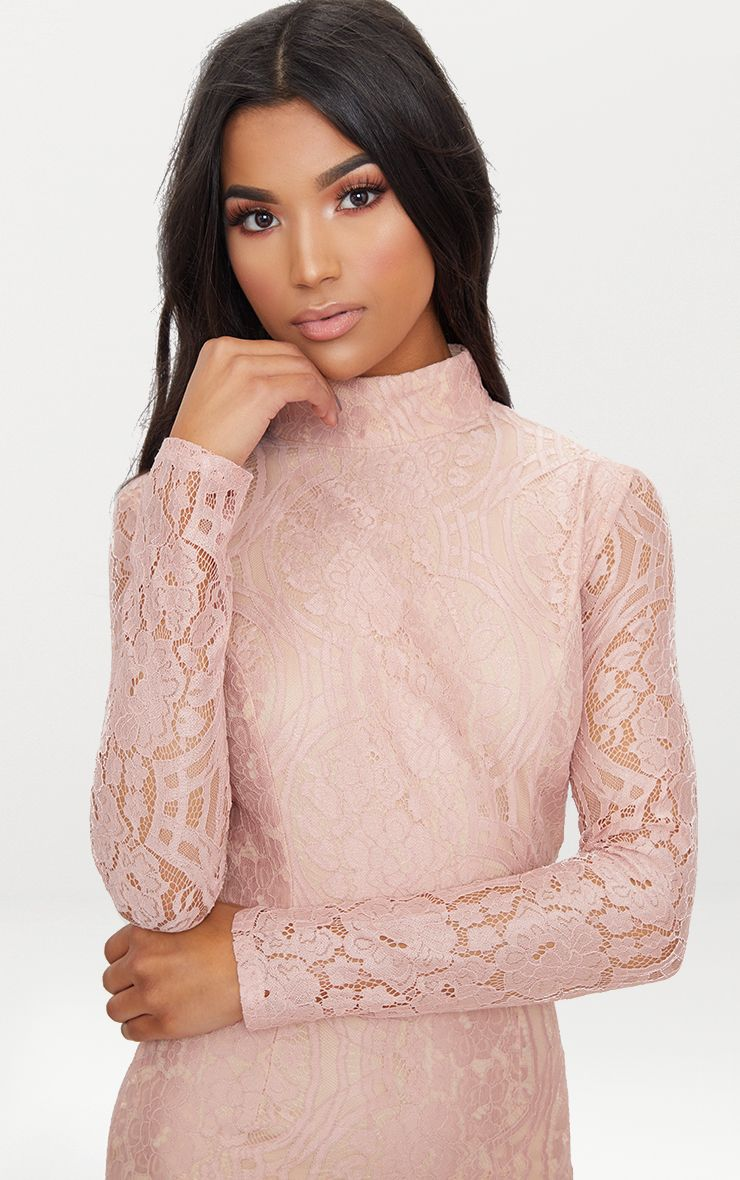 Ancient rome sleeve lace bodycon dress dusty pink long day sale