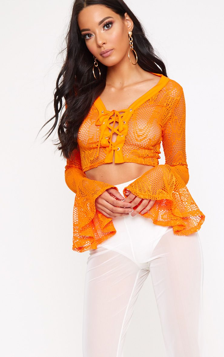 Orange Fishnet Lace Up Flare Sleeve Crop Top