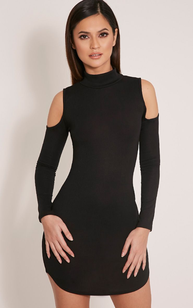 Renny Black Ribbed Cold Shoulder Dress 1
