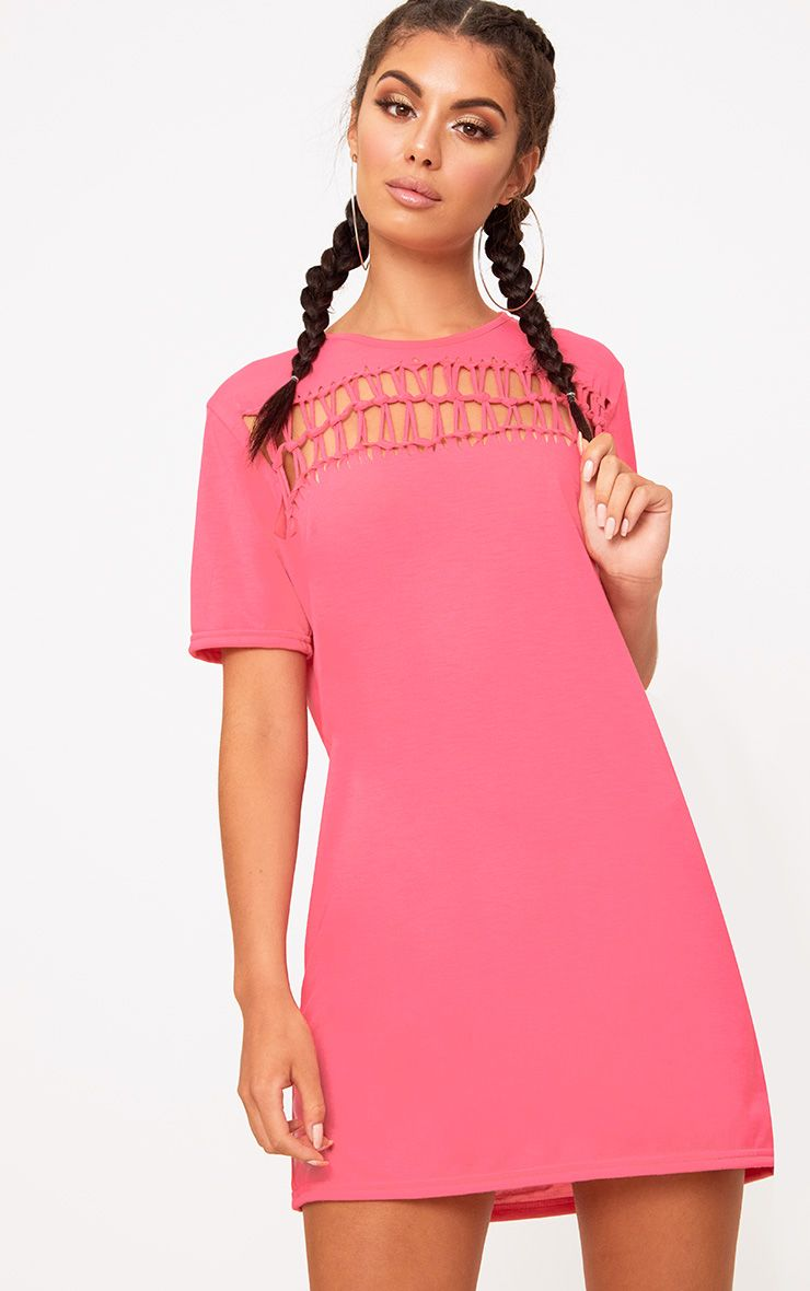 Pink Cut Out Detail T Shirt Dress