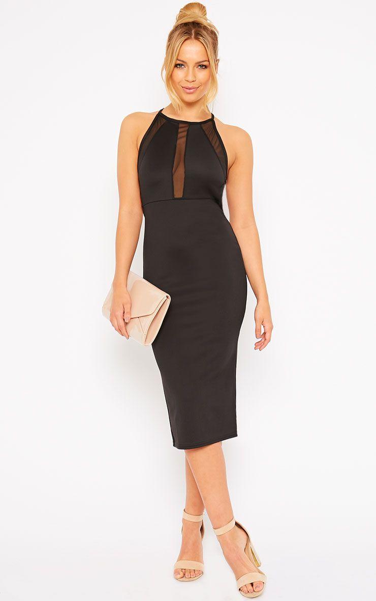Naveen Black Mesh Front Midi Dress 1