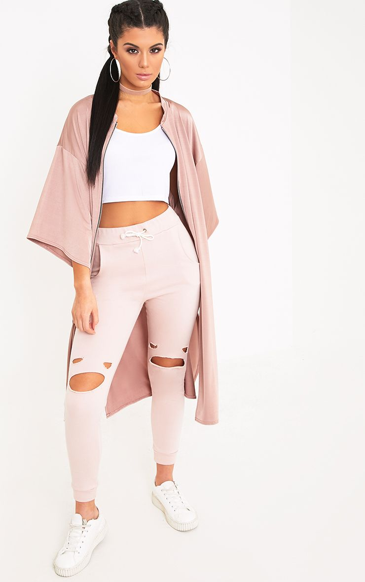 Luisiana Rose Zip Through Slinky Longline Jacket