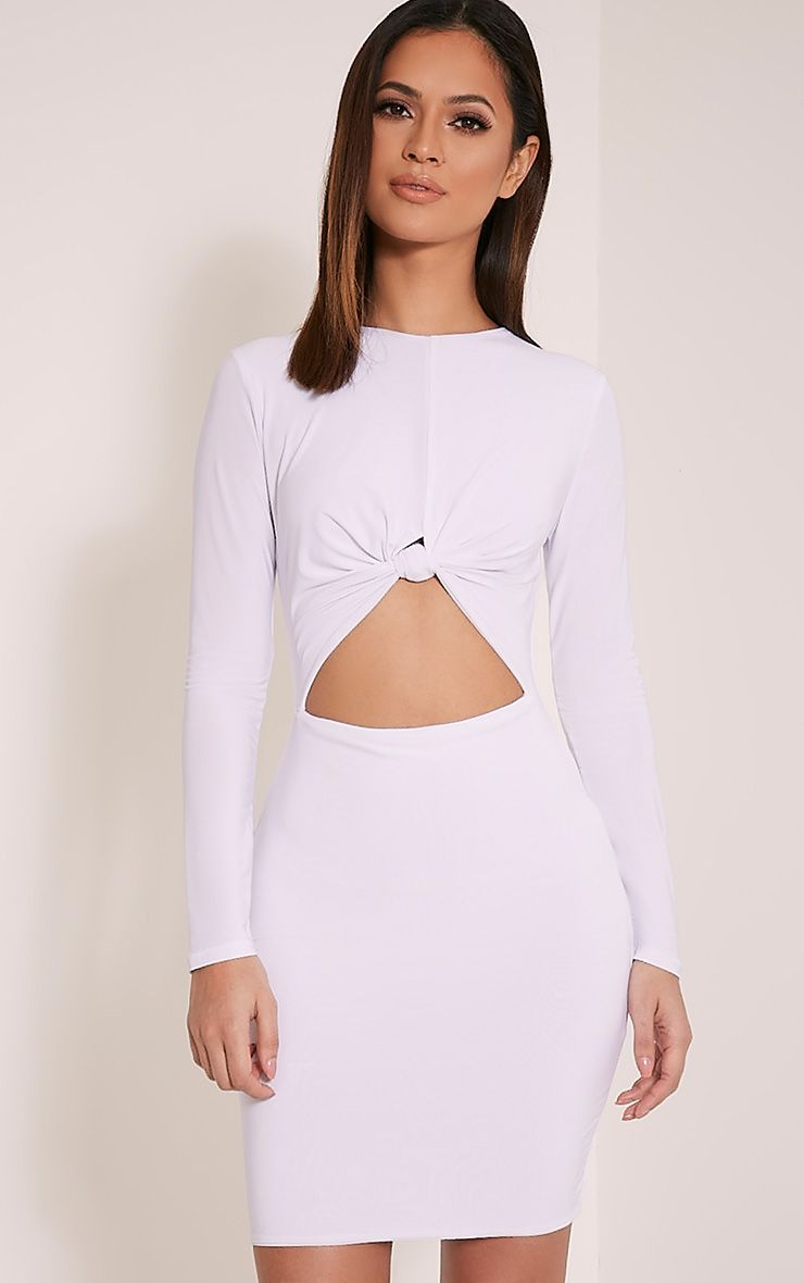 Zafia White Long Sleeve Mini Dress 1