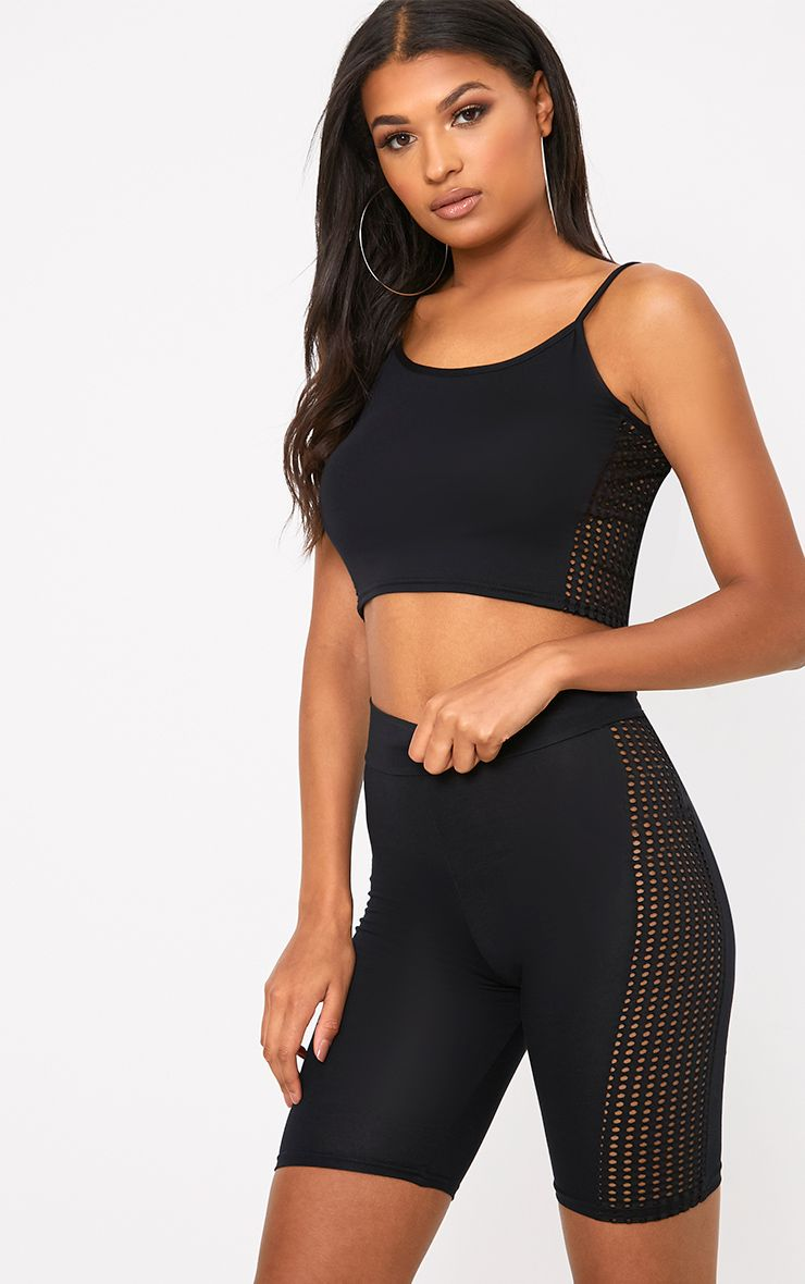 Black Fishnet Panel Cycle Shorts
