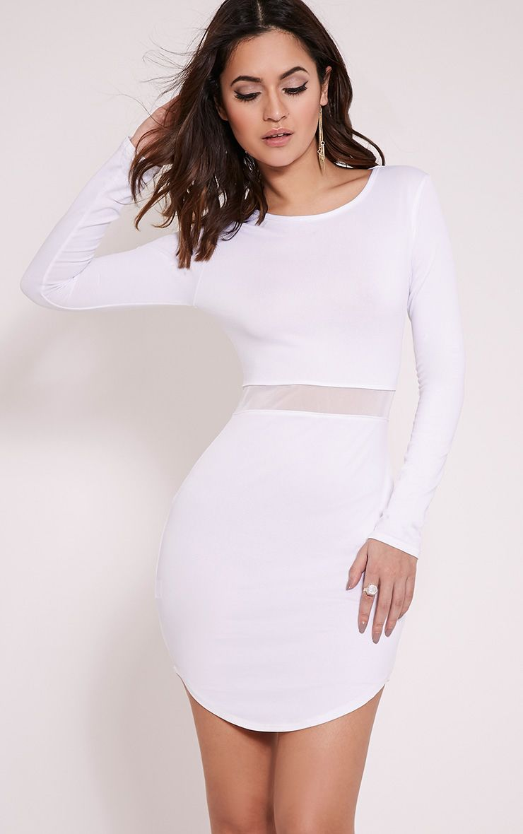 Alby White Mesh Detail Curve Hem Dress 1