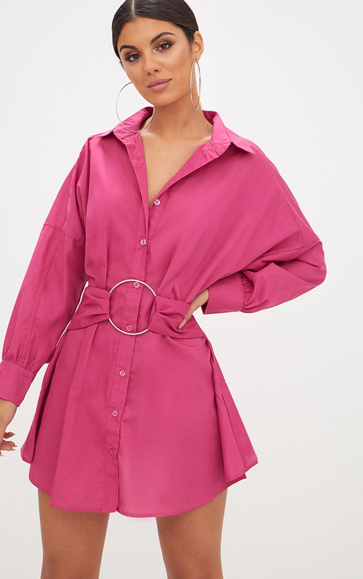 Fuchsia Ring Waist Detail Shirt Dress
