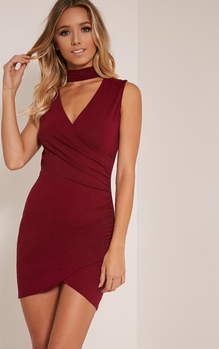 Amaris Burgundy Choker Detail Ruched Bodycon Dress