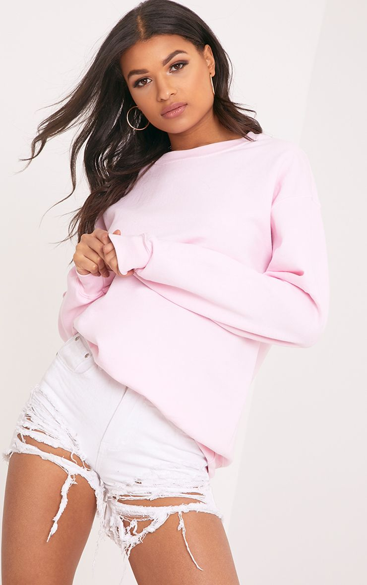 Sweat col ras du cou rose clair ultime