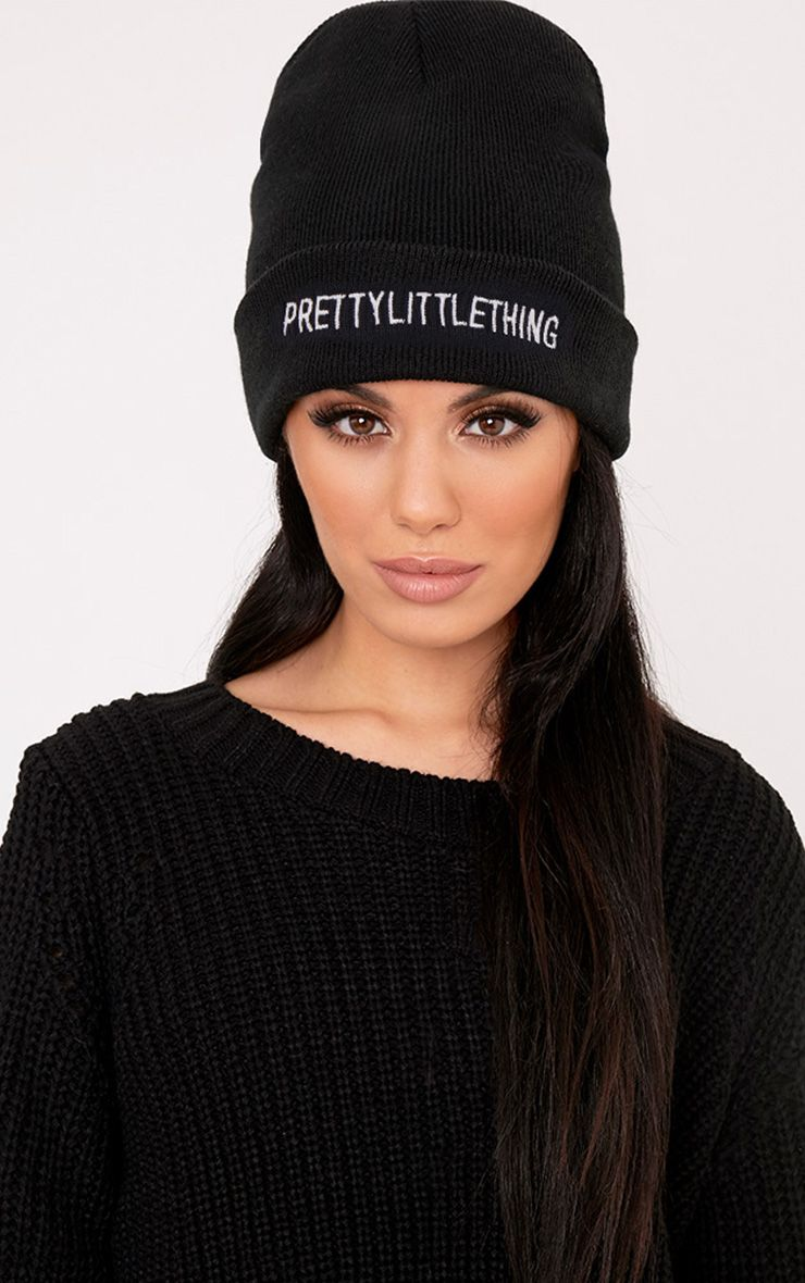 PrettyLittleThing Black Slogan Beanie Hat