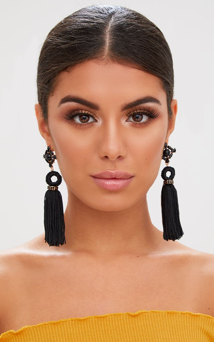 Black Jewelled Drop Tassel Earrings