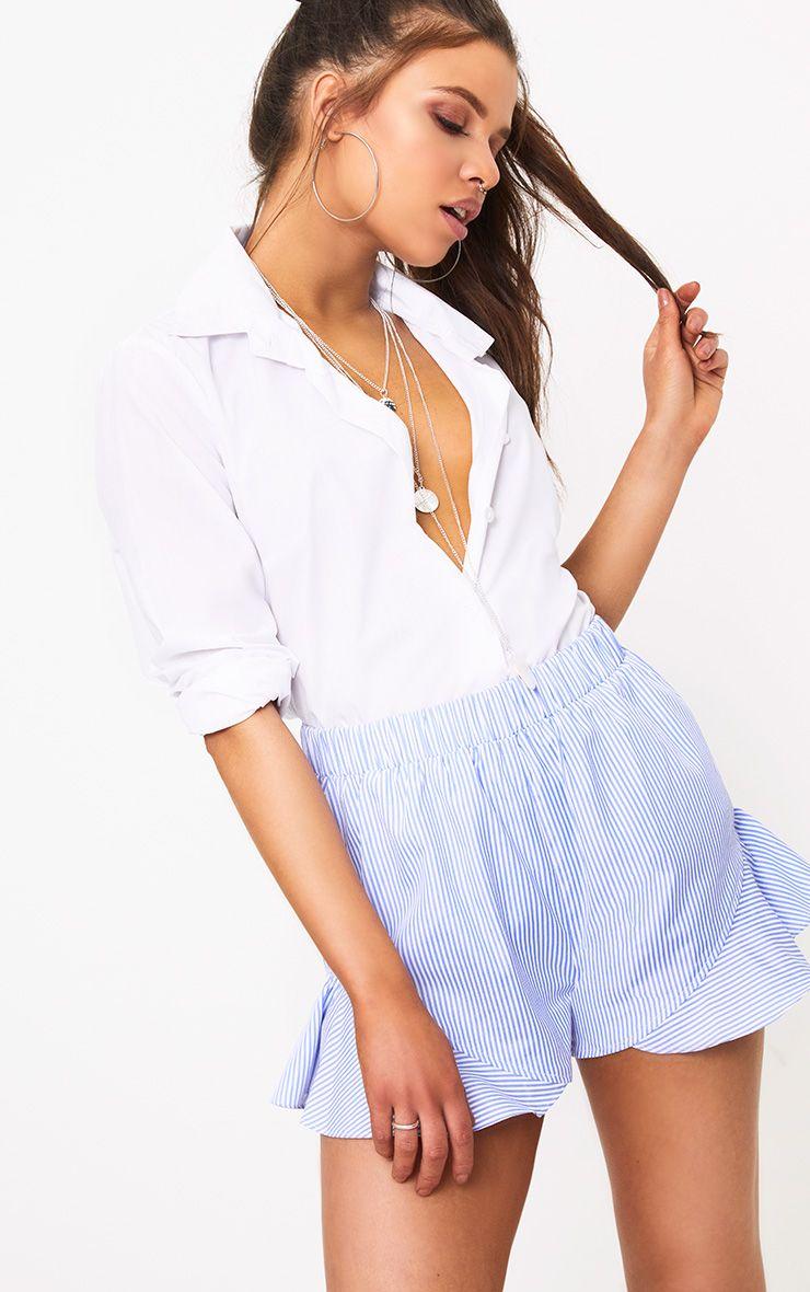 Charise Blue Pinstripe Frill Hem Shorts