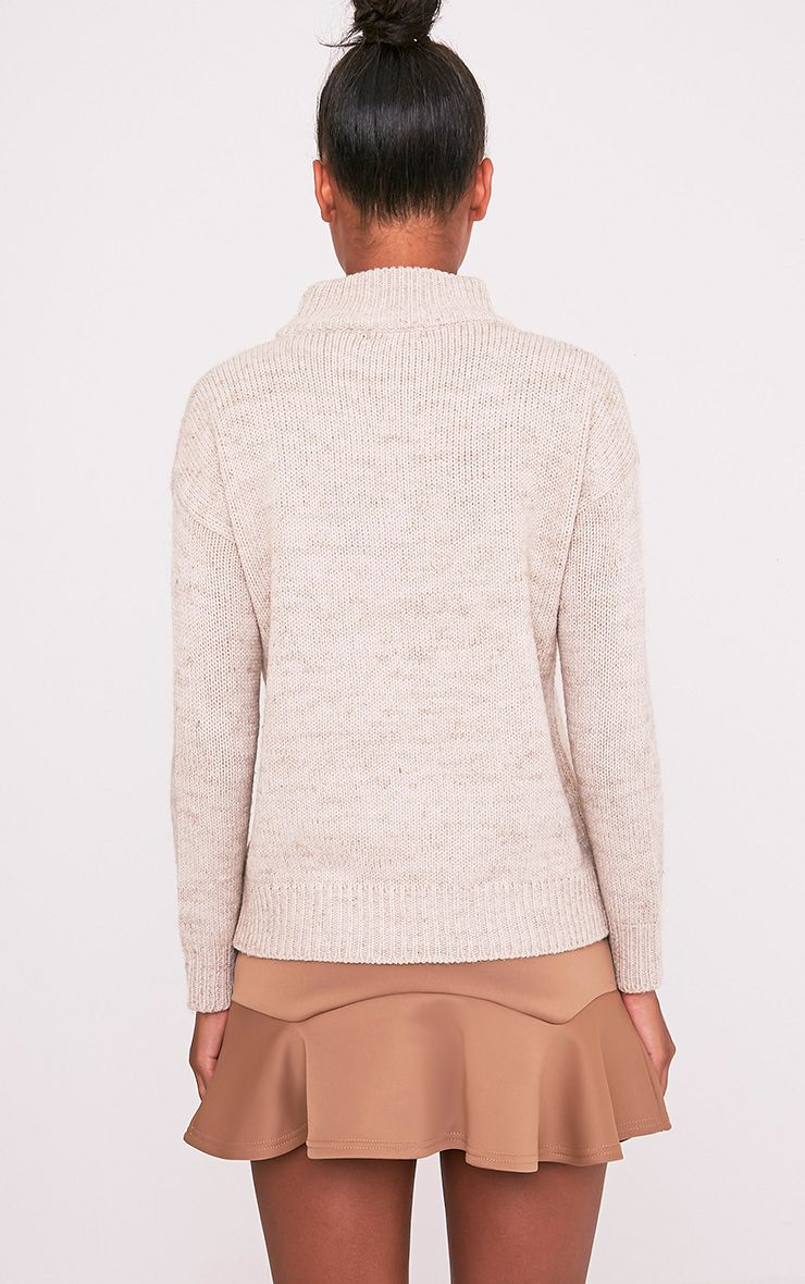Jodeanne Taupe Cable Knit Detail Turtle Neck Jumper 2