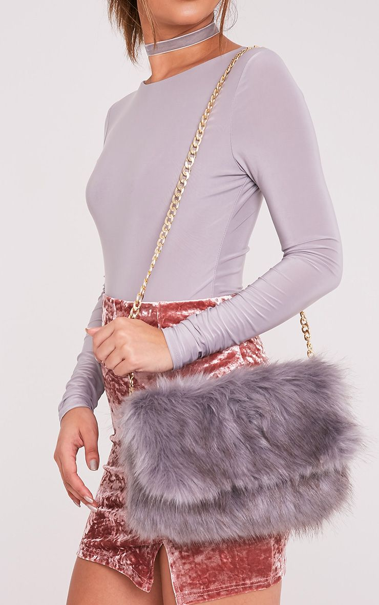 Kylah Grey Faux Fur Clutch Bag