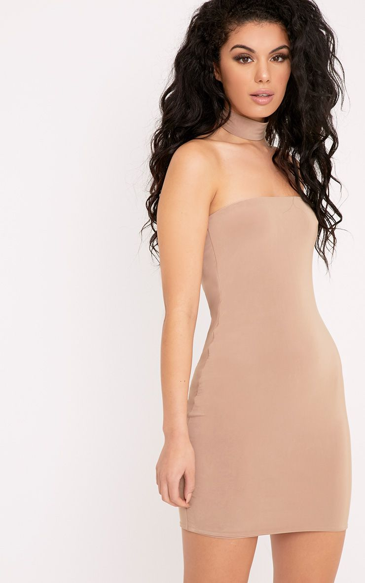 Charlotte Camel Slinky Choker Bandeau Bodycon Dress