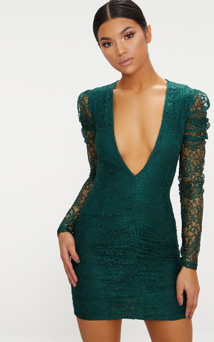 Emerald Green Lace Puff Sleeve Ruched Detail Plunge Bodycon Dress