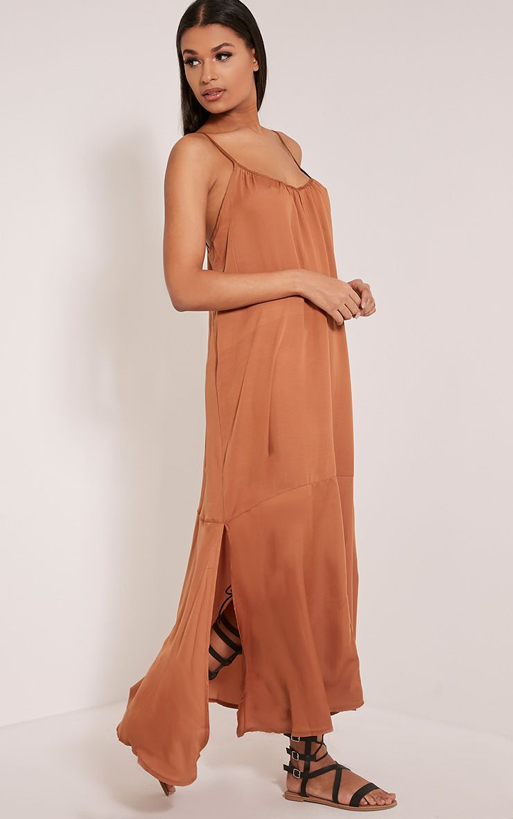 Lacee Tan Silky Lace Up Maxi Dress 1