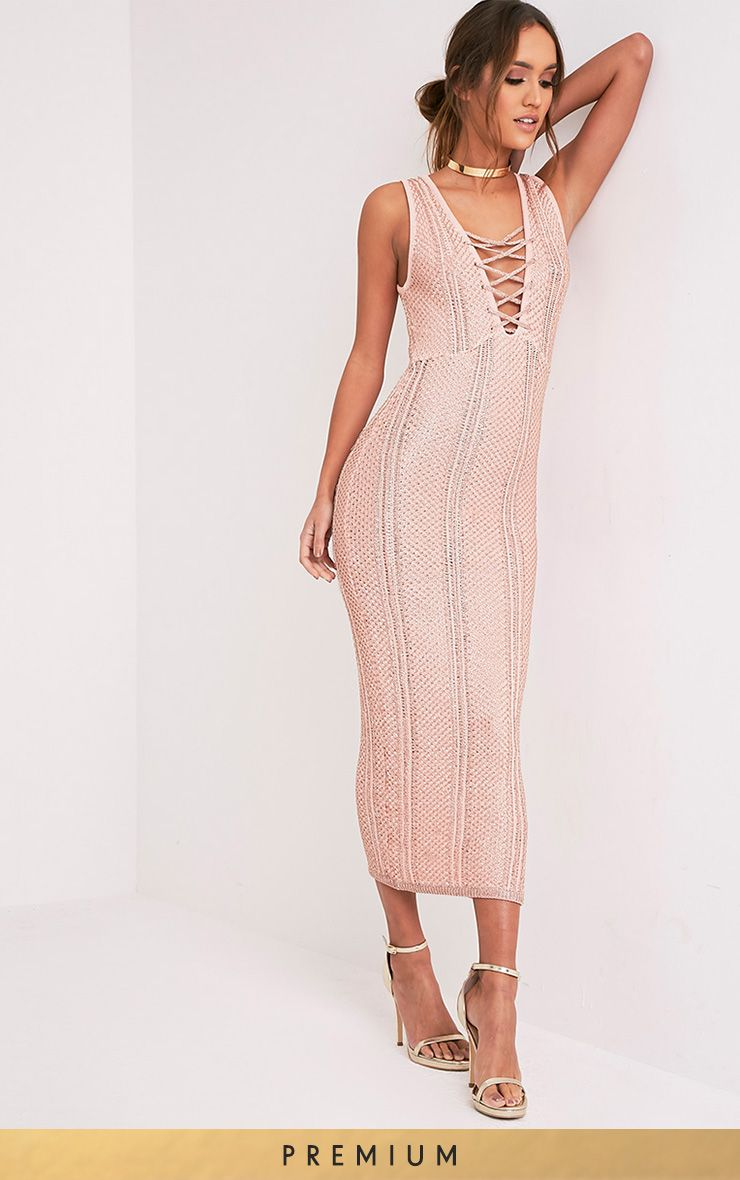 Avanya Blush Premium Metallic Knitted Midi Dress