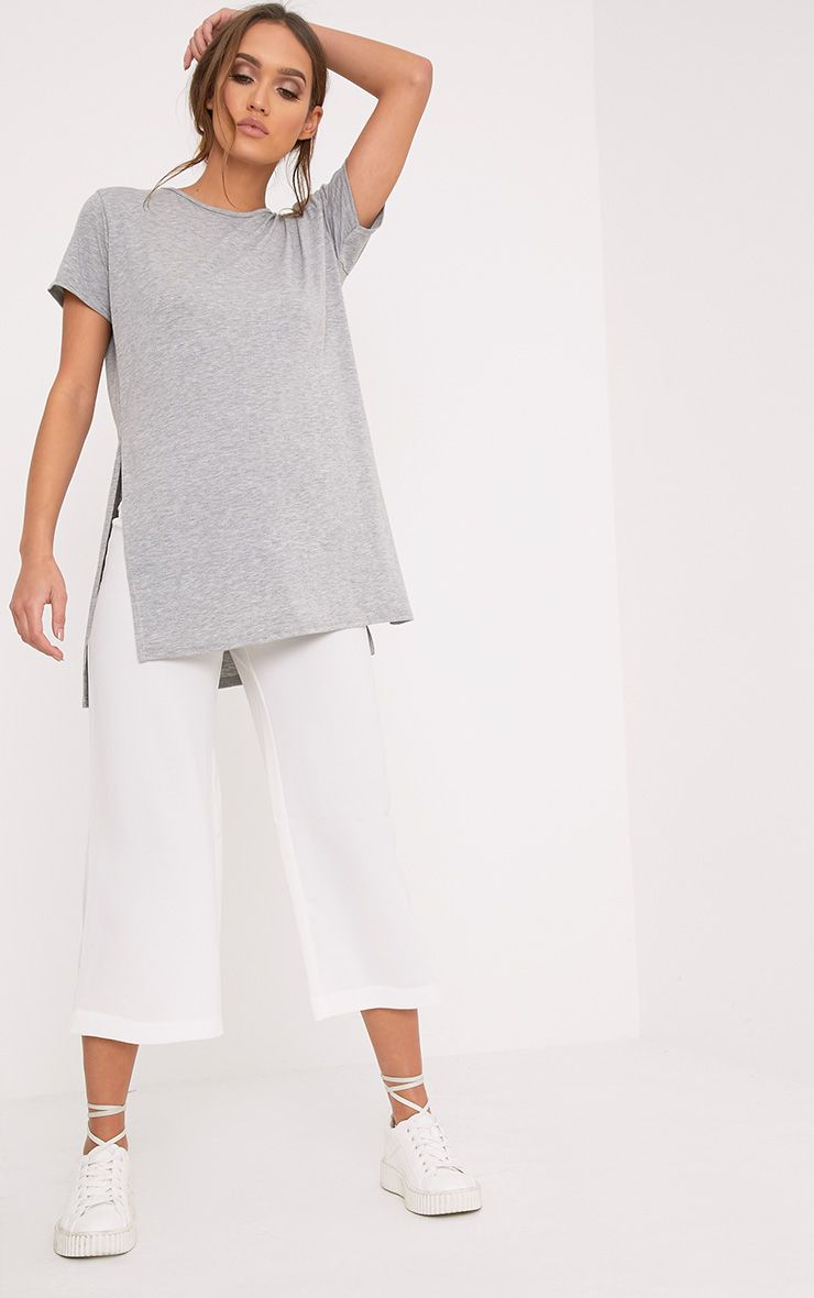 Basic Grey Side Split T-Shirt