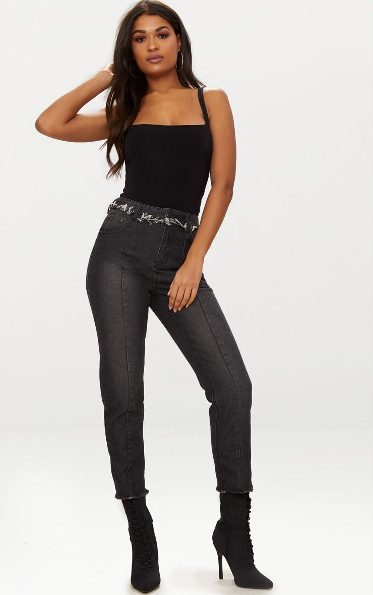 Washed Black Frayed Seam Detail Cropped Girlfriend Jeans