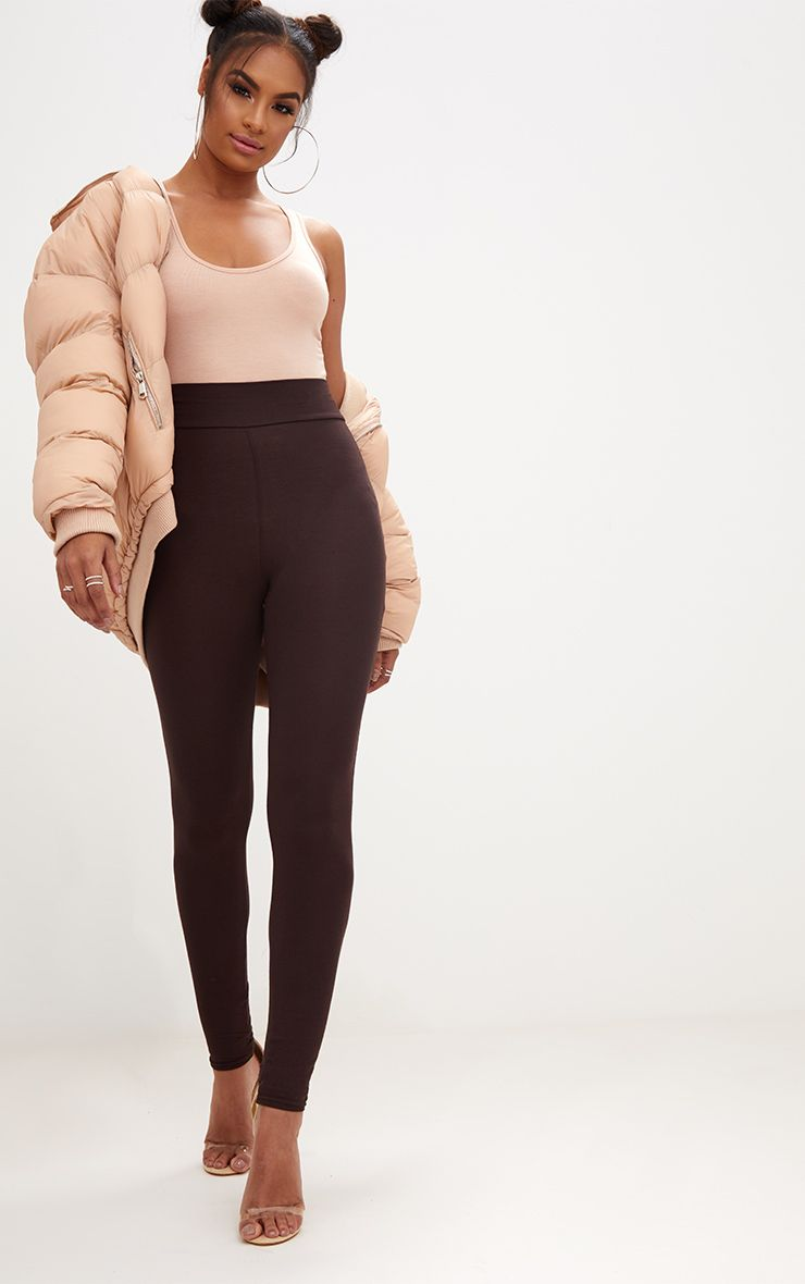 Chocolate Brown High Waisted Jersey Leggings