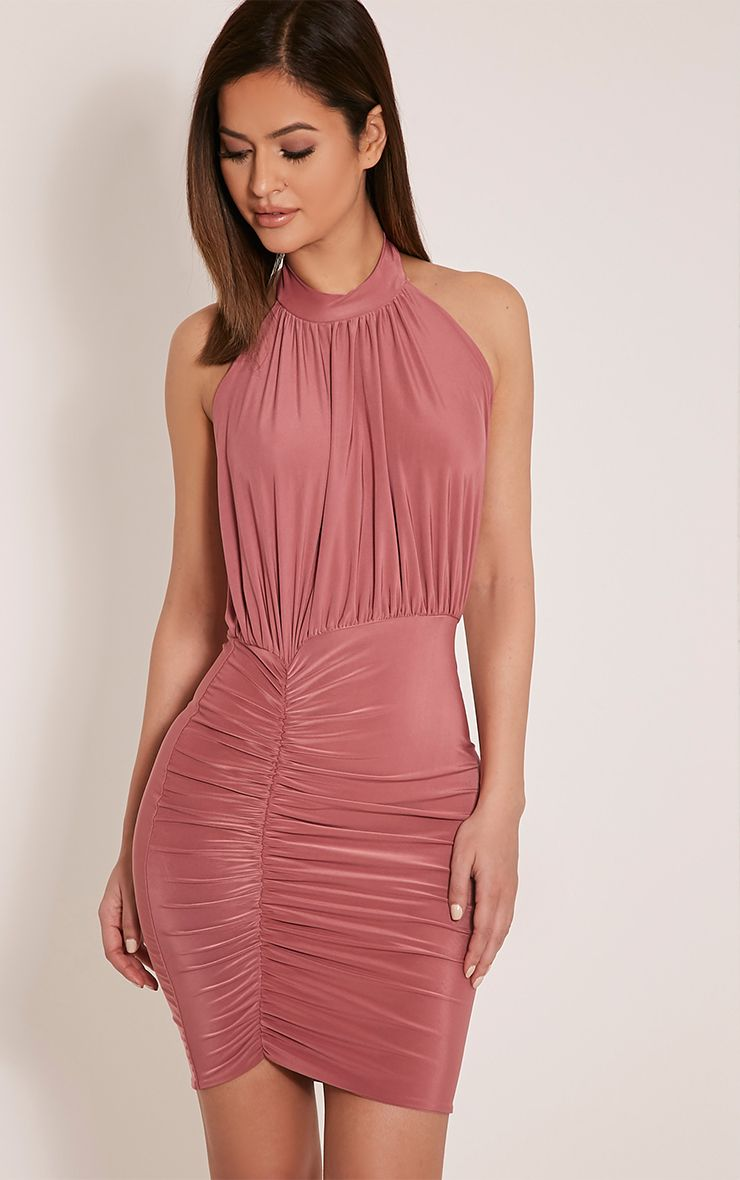 Charlotte Rose Halterneck Ruched Bodycon Dress 1
