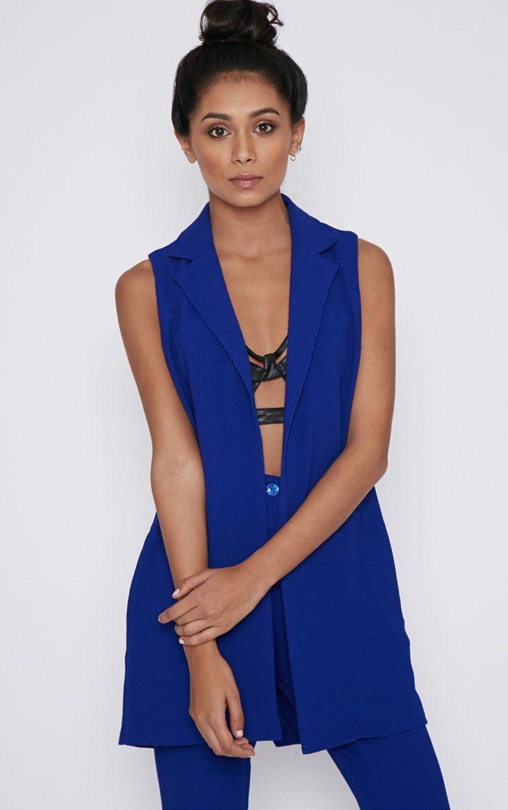 Twiggy Cobalt Sleeveless Blazer 1