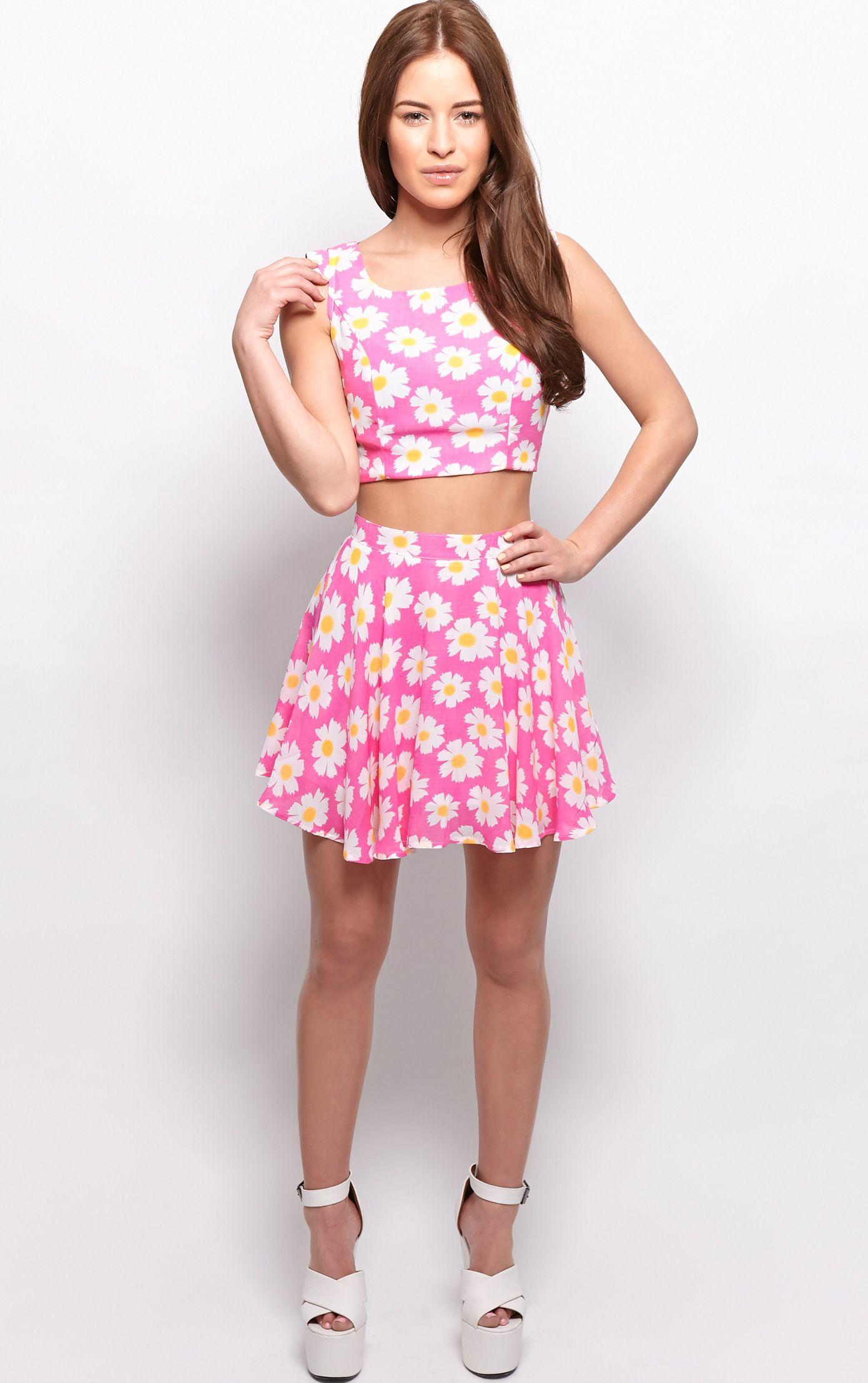 Tatum Pink Daisy Print Swing Skirt  1