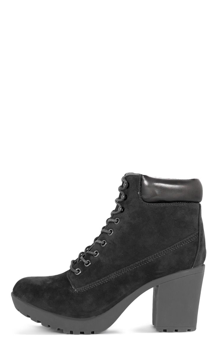 Nuru Black Suedette Lace Up Boot  1