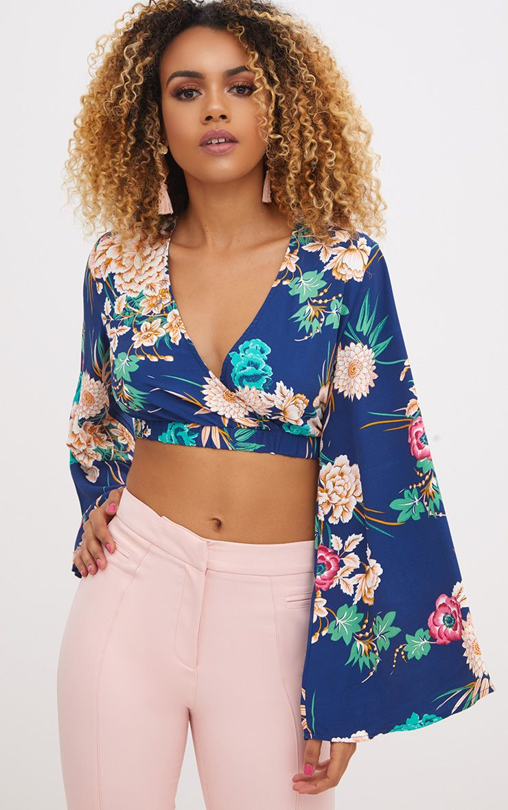 Navy Floral Print Flare Sleeve Plunge Blouse