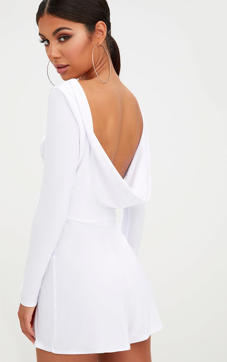 White Cowl Back Playsuit