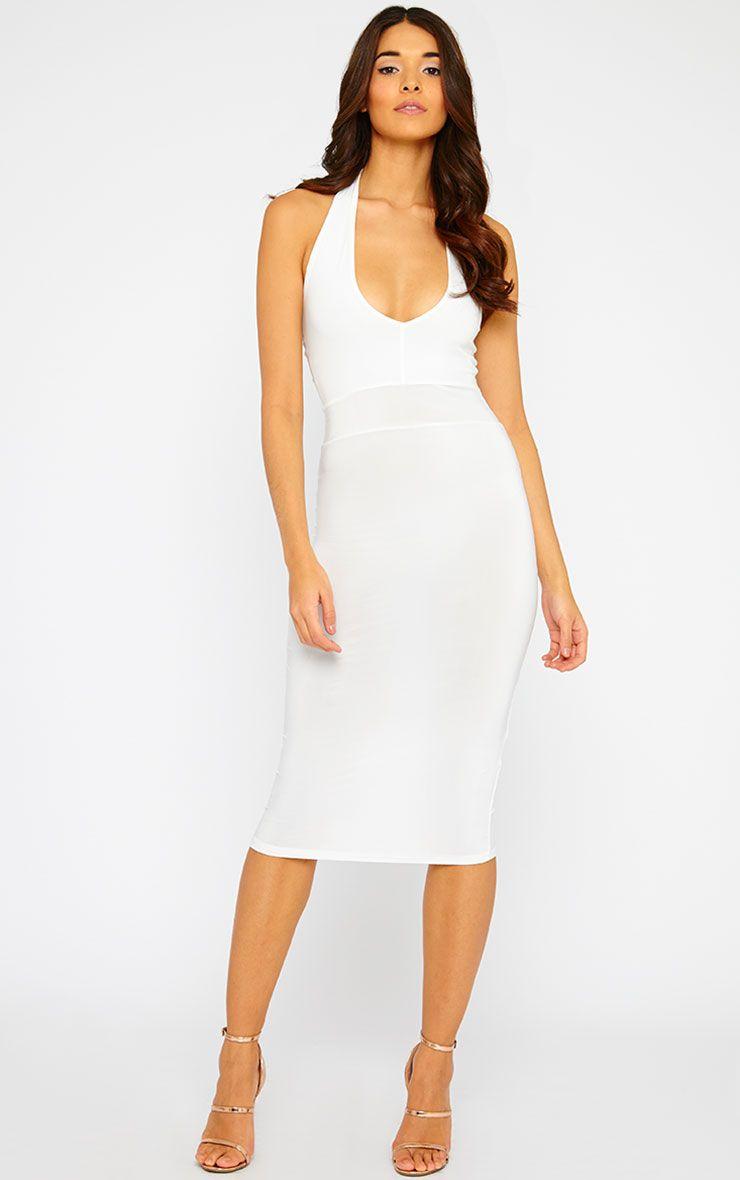 Lilly Cream Slinky Halterneck Midi Dress 1