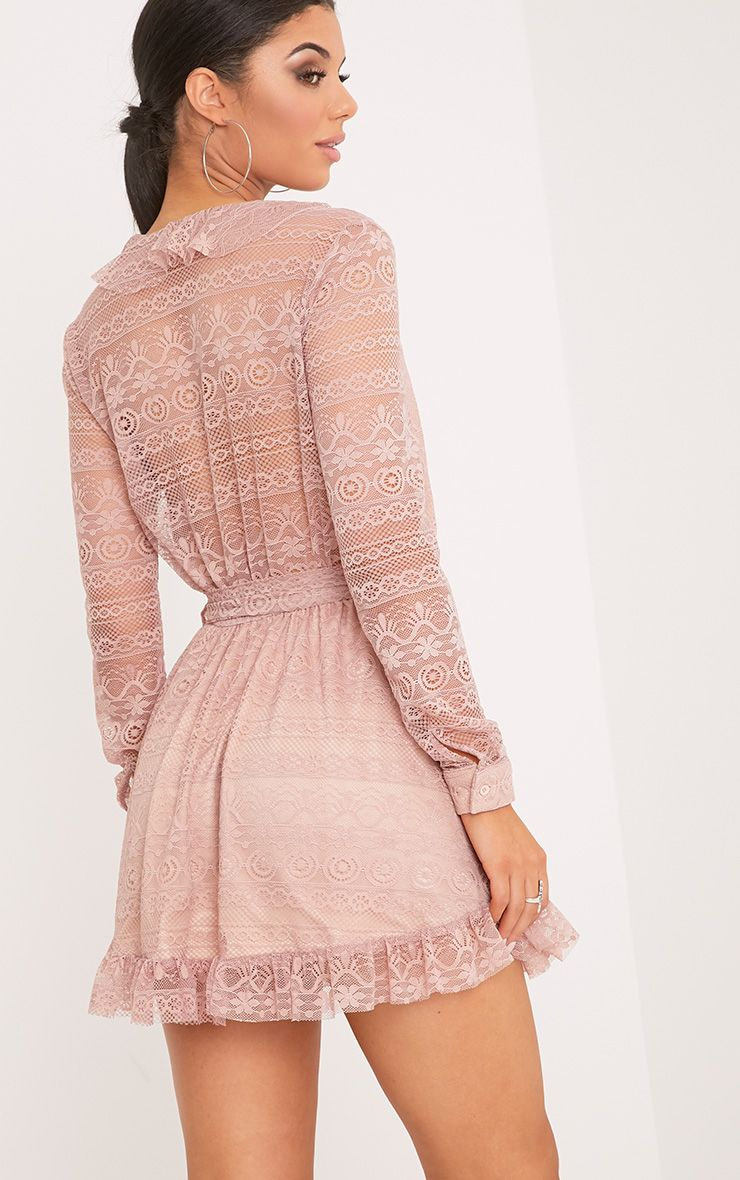 Kamini Dusty Pink Lace Frill Wrap Over Shift Dress