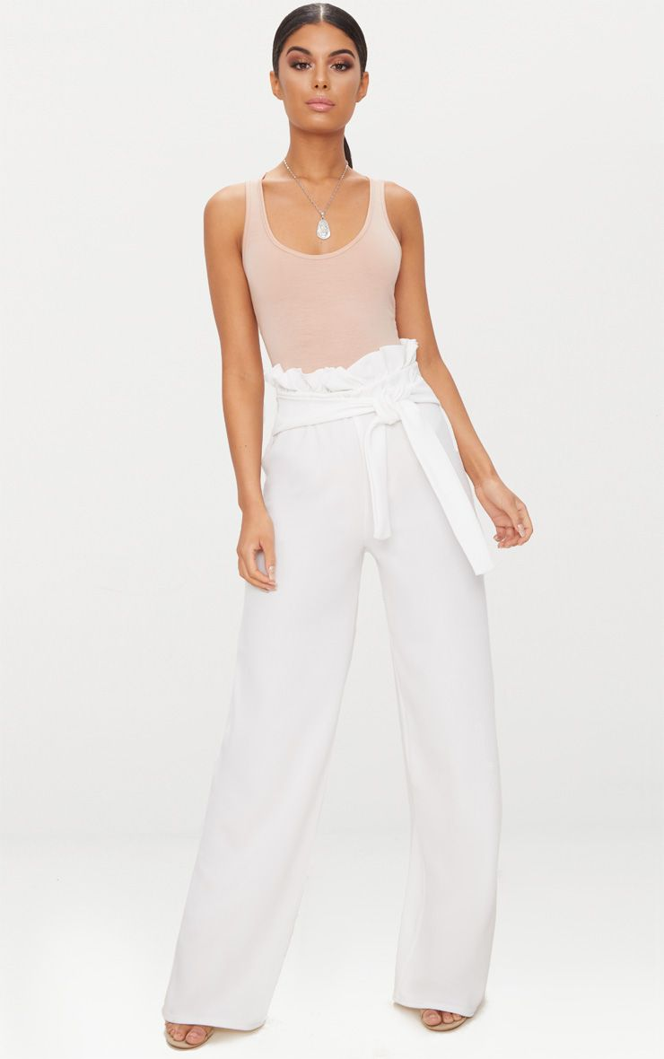 Cream Crepe Wide Leg Paperbag Trousers