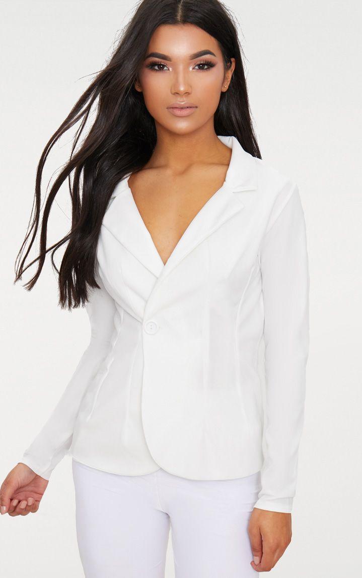 White Button Detail Longline Blazer