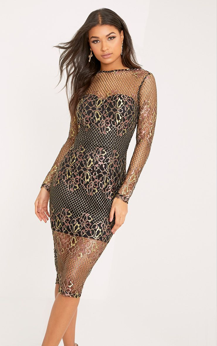 Hettie Black Metallic Long Sleeve Lace Midi Dress