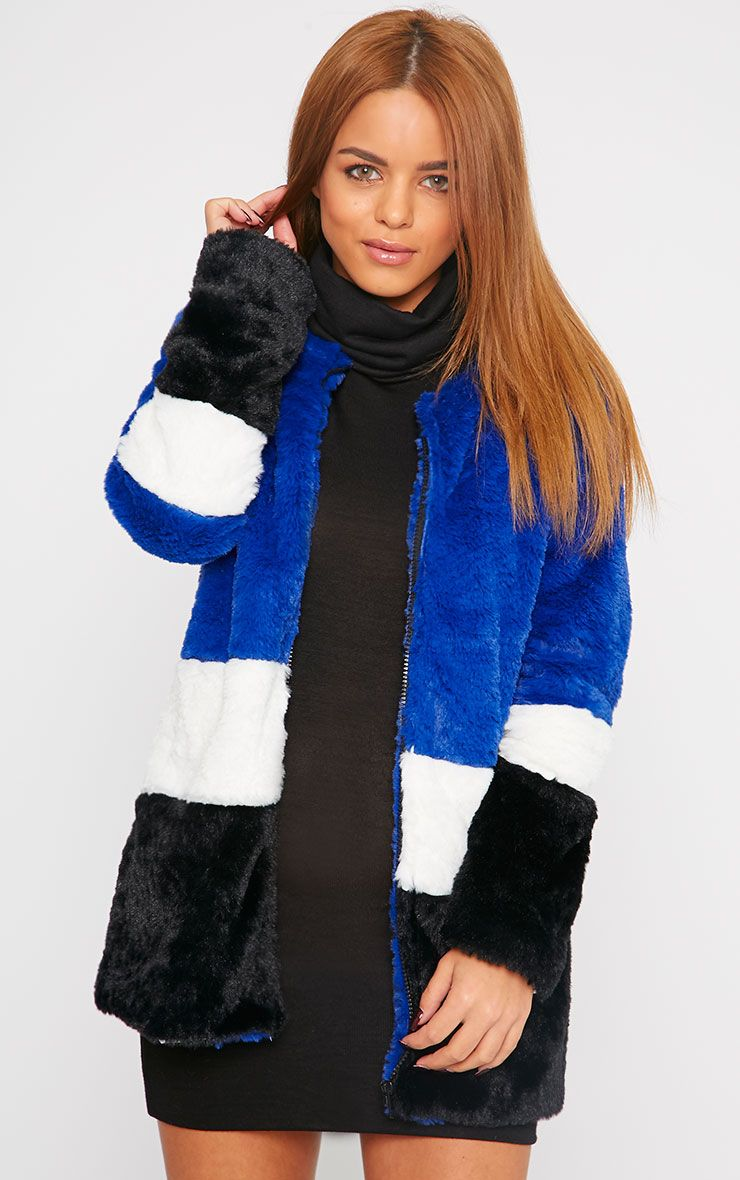 Lula Cobalt Stripe Fur Coat 1