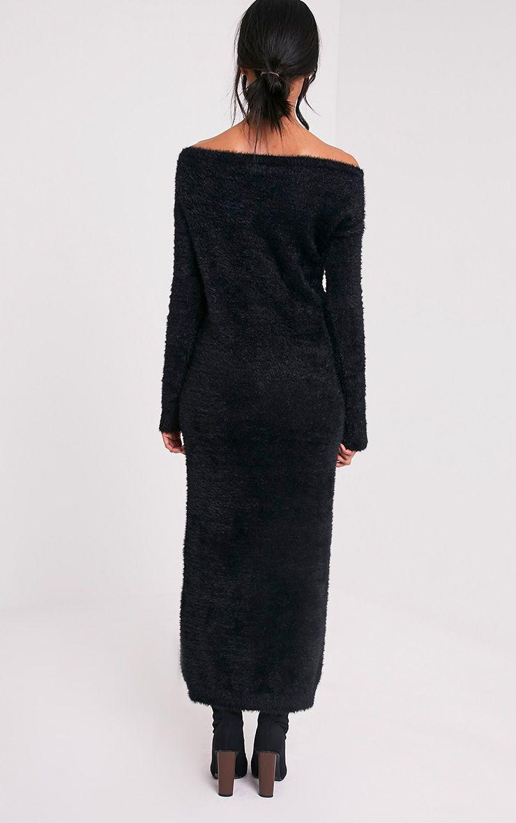 Idelle robe maxi en maille duveteuse noire 3