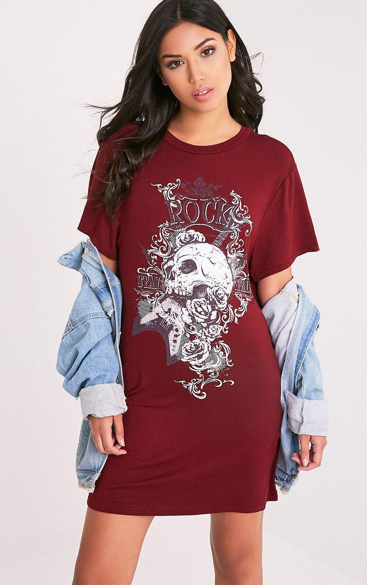Skull Rock Burgundy T-Shirt Dress 1